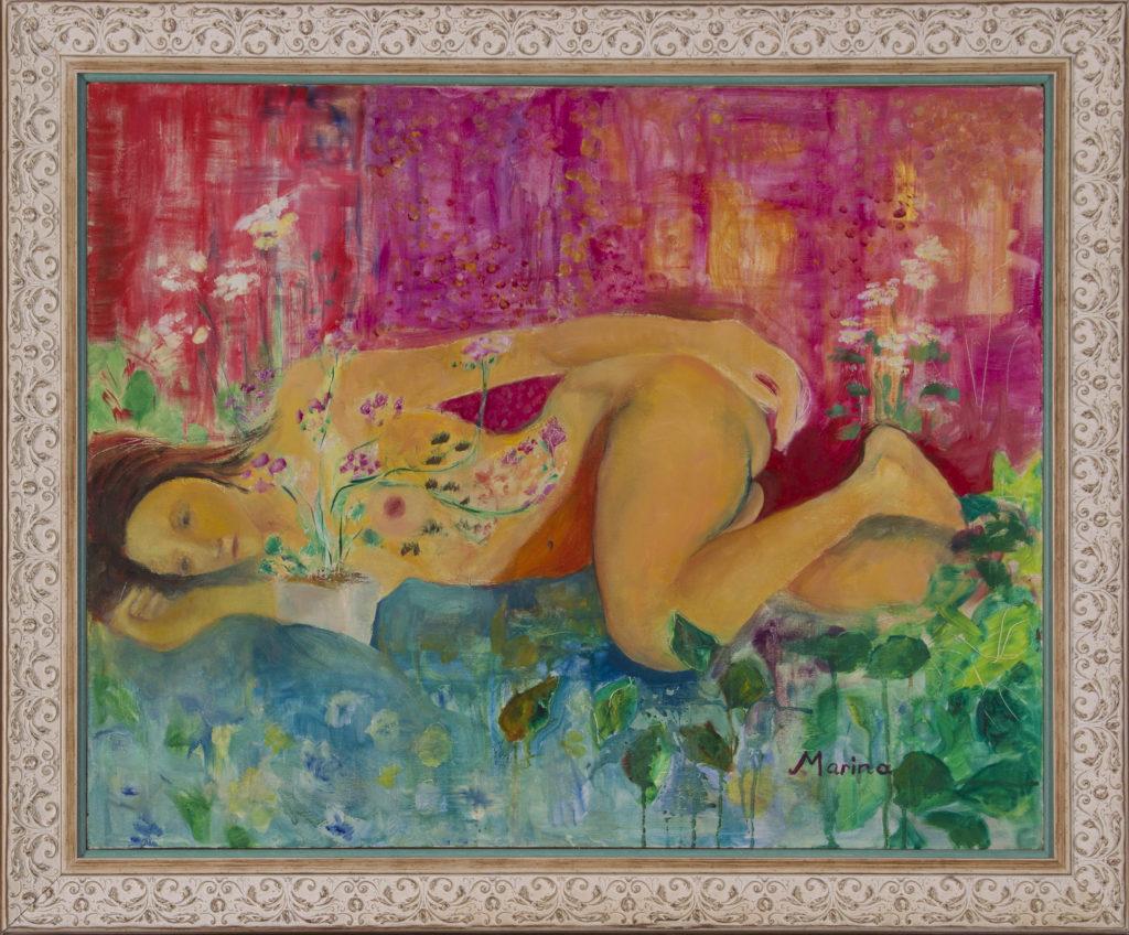 Nude Flower Girl framed